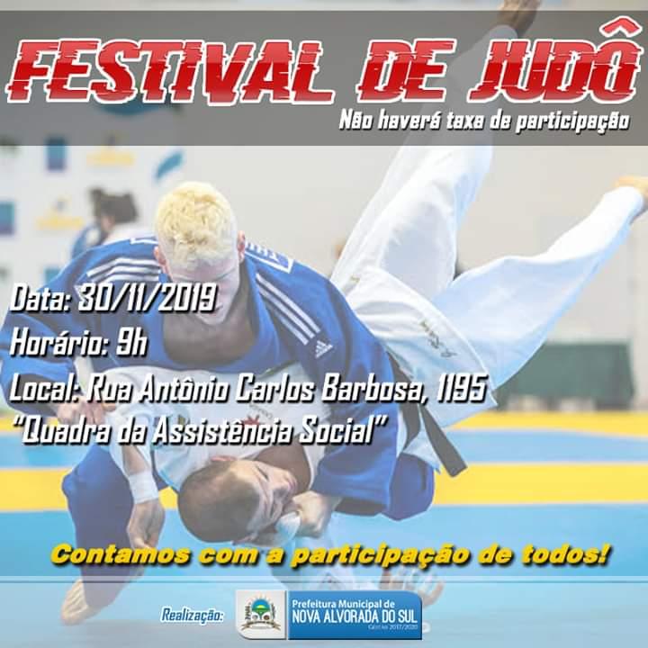 Administração Municipal de Nova Alvorada do Sul, convida toda a população, para particiar do Festival de Judô