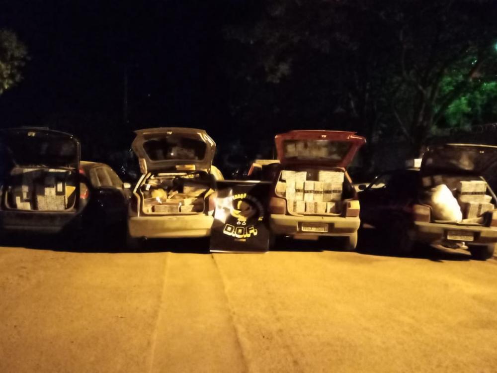 DOF apreende 4 veículos carregado de contrabando com destino a Nova Alvorada do Sul